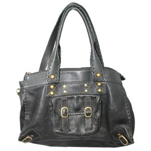 Carla Mancini Slouchy Black Leather Satchel